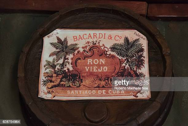 Emilio Bacardi House of Rum brand name labels in oak wooden barrels of the drink Bacardi Cia The place is a tourist attraction in the tropical city