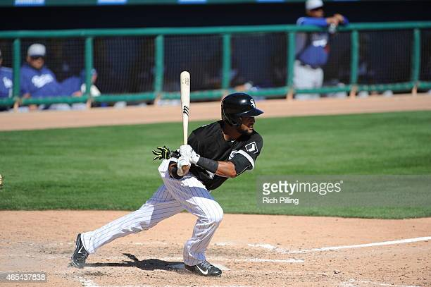 Emilio Bonafacio of the Chicago White Sox bats during the game against the Los Angeles Dodgers on March 5 2015 at Camelback RanchGlendale in Glendale...