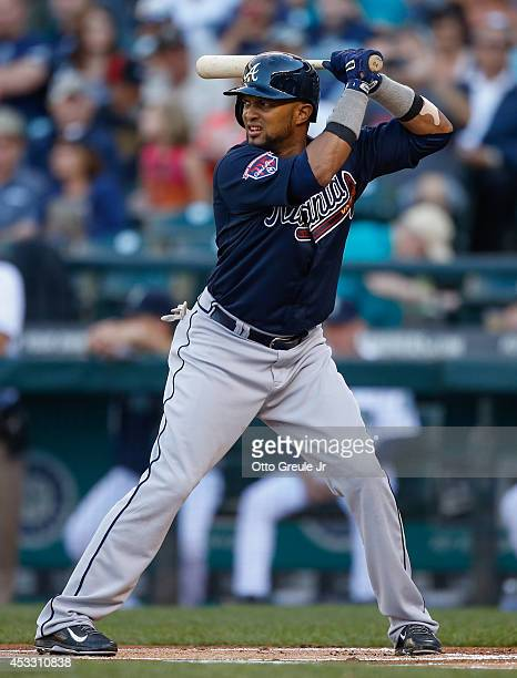 Emilio Bonifacio of the Atlanta Braves bats against the Seattle Mariners at Safeco Field on August 5 2014 in Seattle Washington