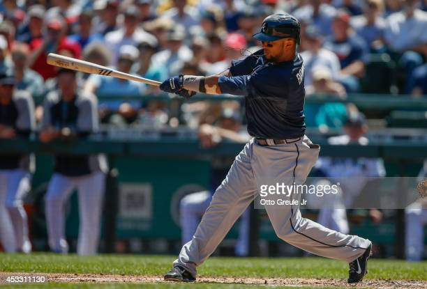 Emilio Bonifacio of the Atlanta Braves bats against the Seattle Mariners at Safeco Field on August 6 2014 in Seattle Washington