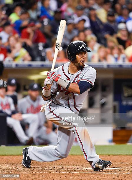 Emilio Bonifacio of the Atlanta Braves plays during a baseball game against the San Diego Padres at Petco Park August 1 2014 in San Diego California