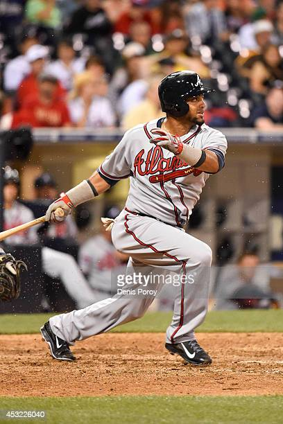 Emilio Bonifacio of the Atlanta Braves plays during the eleventh inning of a baseball game against the San Diego Padres at Petco Park August 2 2014...