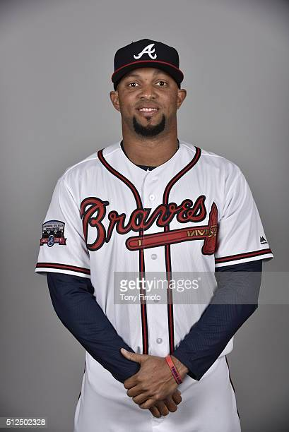 Emilio Bonifacio of the Atlanta Braves poses during Photo Day on Friday February 26 2016 at Champion Stadium in Lake Buena Vista Florida