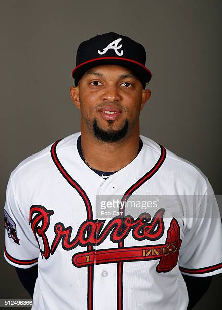 Emilio Bonifacio of the Atlanta Braves poses on photo day at Champion Stadium on February 26 2016 in Lake Buena Vista Florida