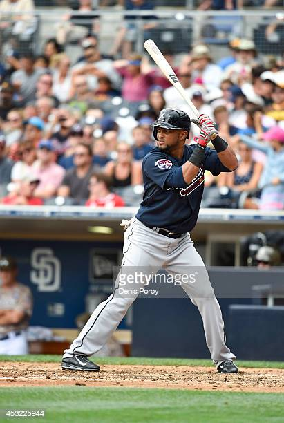 Emilio Bonifacio of the Atlanta Braves the plays during the seventh inning of a baseball game against the San Diego Padres at Petco Park August 3...