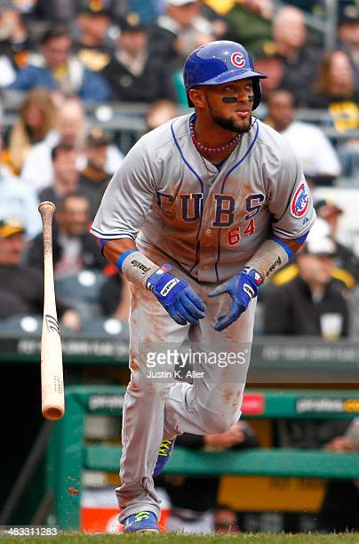 Emilio Bonifacio of the Chicago Cubs plays against the Pittsburgh Pirates during the game at PNC Park April 3 2014 in Pittsburgh Pennsylvania