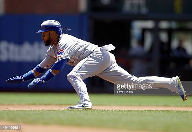 Emilio Bonifacio of the Chicago Cubs runs to second base against the San Francisco Giantsat ATT Park on May 26 2014 in San Francisco California