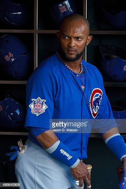 Emilio Bonifacio of the Chicago Cubs stands in the dugout before the game against the San Francisco Giants at ATT Park on May 27 2014 in San...