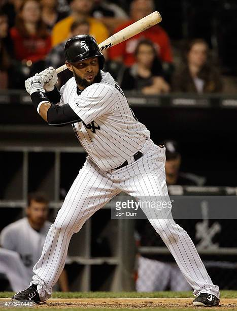Emilio Bonifacio of the Chicago White Sox at bat against the Houston Astros during the seventh inning at US Cellular Field on June 10 2015 in Chicago...