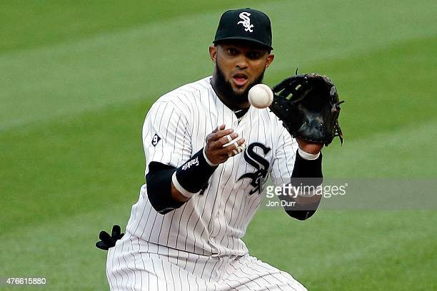 Emilio Bonifacio of the Chicago White Sox fields the ball against the Houston Astros during the first inning at US Cellular Field on June 10 2015 in...