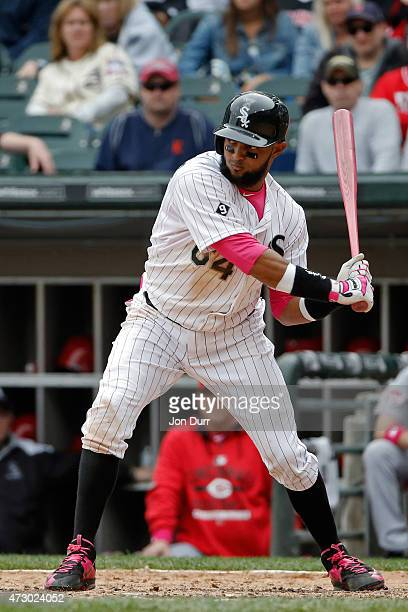 Emilio Bonifacio of the Chicago White Sox hits an RBI single against the Cincinnati Reds during the eighth inning on May 10 2015 at US Cellular Field...