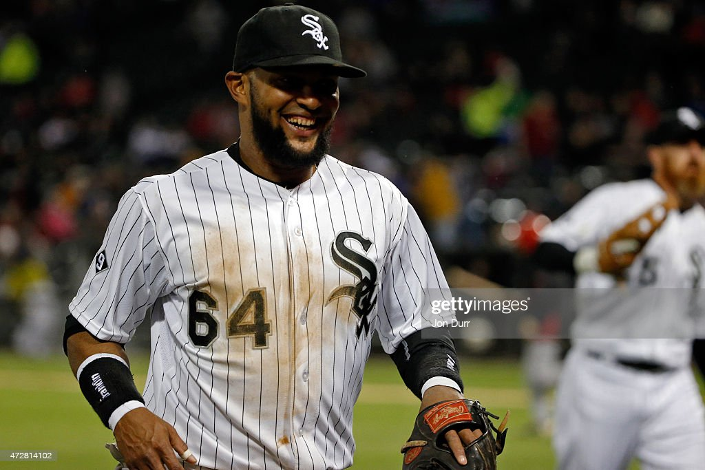 Emilio Bonifacio #64 of the Chicago White Sox walks off the field during the seventh inning during the game against the Cincinnati Reds in the second game of a doubleheader on May 9, 2015 at U.S. Cellular Field in Chicago, Illinois. The Chicago White Sox won 8-2.