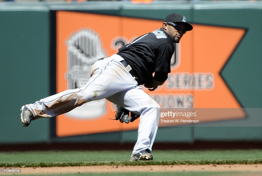 Emilio Bonifacio #1 of the Florida Marlins in action against the San Francisco Giants during a MLB baseball game at AT&T Park May 26, 2011 in San Francisco, California. The Marlins won the game 1-0.