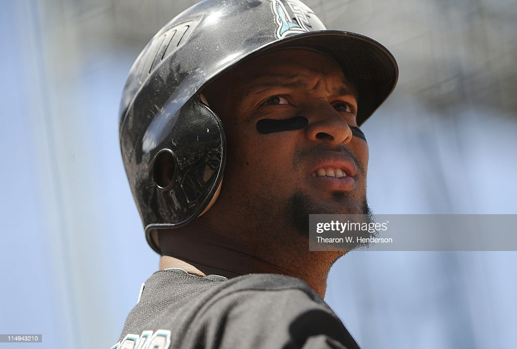 Emilio Bonifacio #1 of the Florida Marlins looks up into the stands from the on-deck circle against the San Francisco Giants during a MLB baseball game at AT&T Park May 26, 2011 in San Francisco, California. The Marlins won the game 1-0.