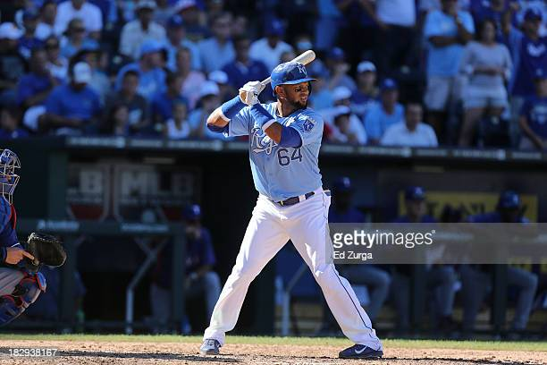 Emilio Bonifacio of the Kansas City Royals bats against the Texas Rangers at Kauffman Stadium on September 22 2013 in Kansas City Missouri