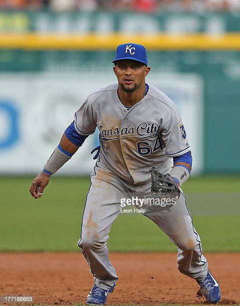 Emilio Bonifacio of the Kansas City Royals gets ready to field the ball during the third inning of the game against the Detroit Tigers at Comerica...