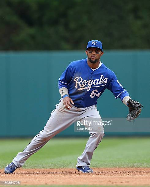 Emilio Bonifacio of the Kansas City Royals gets ready to field the ball during the sixth inning of the game against the Detroit Tigers at Comerica...