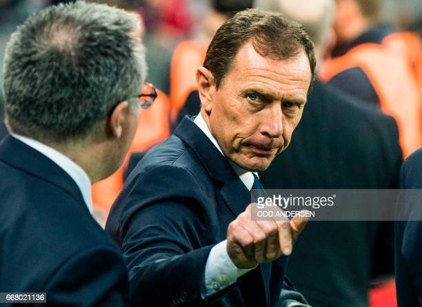 Emilio Butragueno former forward of Real Madrid is pictured during the UEFA Champions League 1st leg quarterfinal football match FC Bayern Munich v...