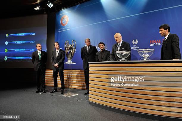 Emilio Butragueno of Real Madrid CF Lars Ricken of Borussia Dortmund Andoni Zubizarreta of FC Barcelona Bixente Lizarazu of FC Bayern Munchen UEFA...