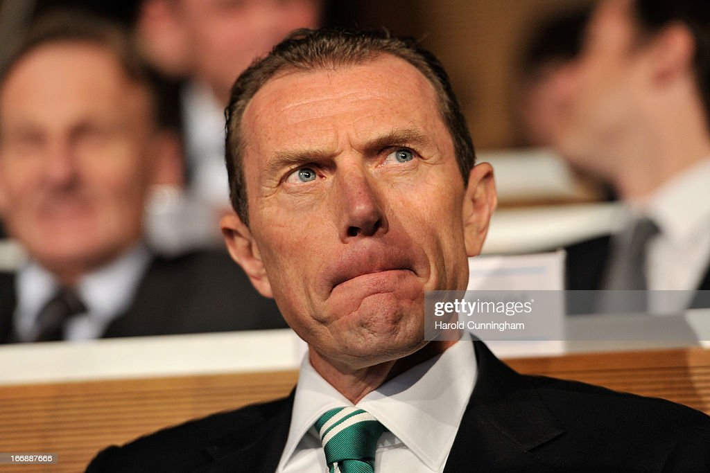 <a gi-track='captionPersonalityLinkClicked' href=/galleries/search?phrase=Emilio+Butragueno&family=editorial&specificpeople=746497 ng-click='$event.stopPropagation()'>Emilio Butragueno</a> of Real Madrid CF looks on during the UEFA Champions League and UEFA Europa League semi-final and final draws at the UEFA headquarters on April 12, 2013 in Nyon, Switzerland.