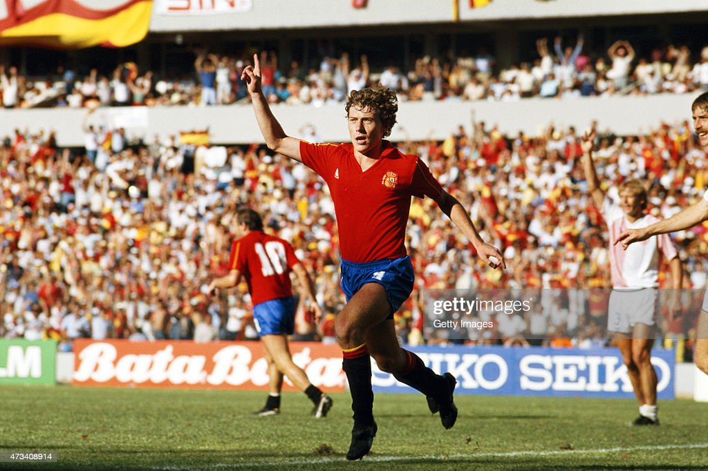 <a gi-track='captionPersonalityLinkClicked' href=/galleries/search?phrase=Emilio+Butragueno&family=editorial&specificpeople=746497 ng-click='$event.stopPropagation()'>Emilio Butragueno</a> of Spain celebrates after scoring his third of four goals during the 1986 FIFA World Cup Finals Second Round match between Spain and Denmark on 18th June, 1986 at the La Corregidora Stadium in Queretaro, Mexico.