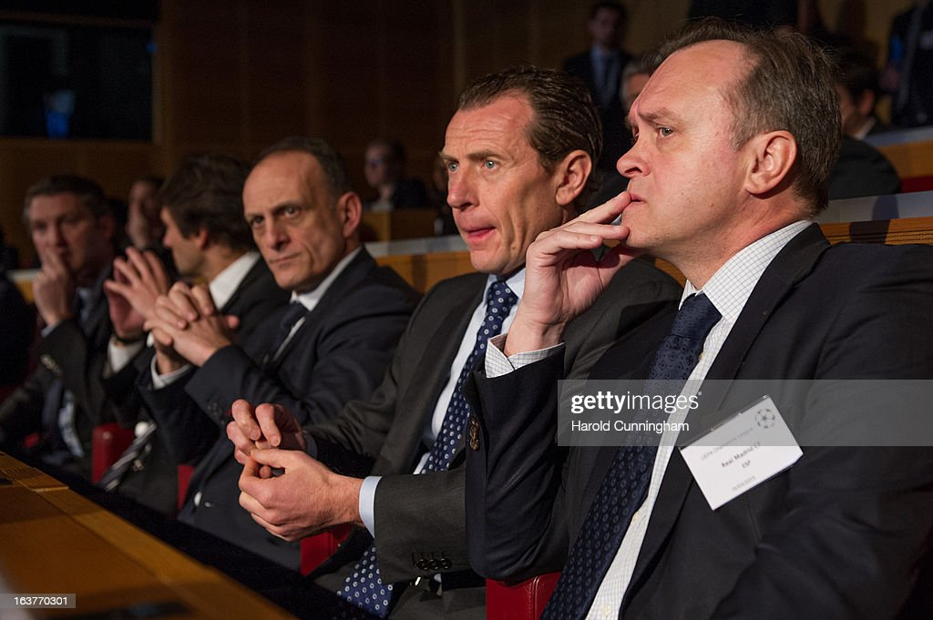 Emilio Butragueno, Real Madrid CF Director (C), looks on after the UEFA Champions League quarter finals draw at the UEFA headquarters on March 15, 2013 in Nyon, Switzerland.