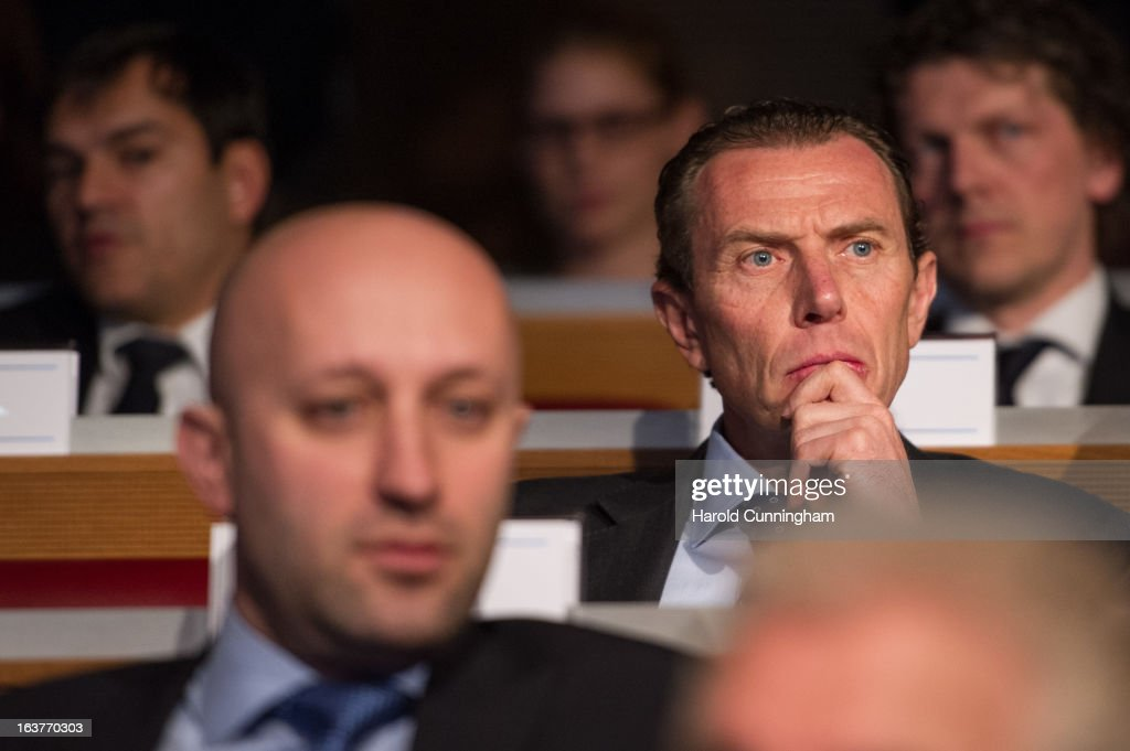Emilio Butragueno, Real Madrid CF Director (R), looks on after the UEFA Champions League quarter finals draw at the UEFA headquarters on March 15, 2013 in Nyon, Switzerland.