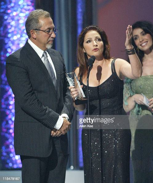 Emilio Estefan and Gloria Estefan accept the award for Latin Pop Airplay Track of the Year Female for 'Hoy'
