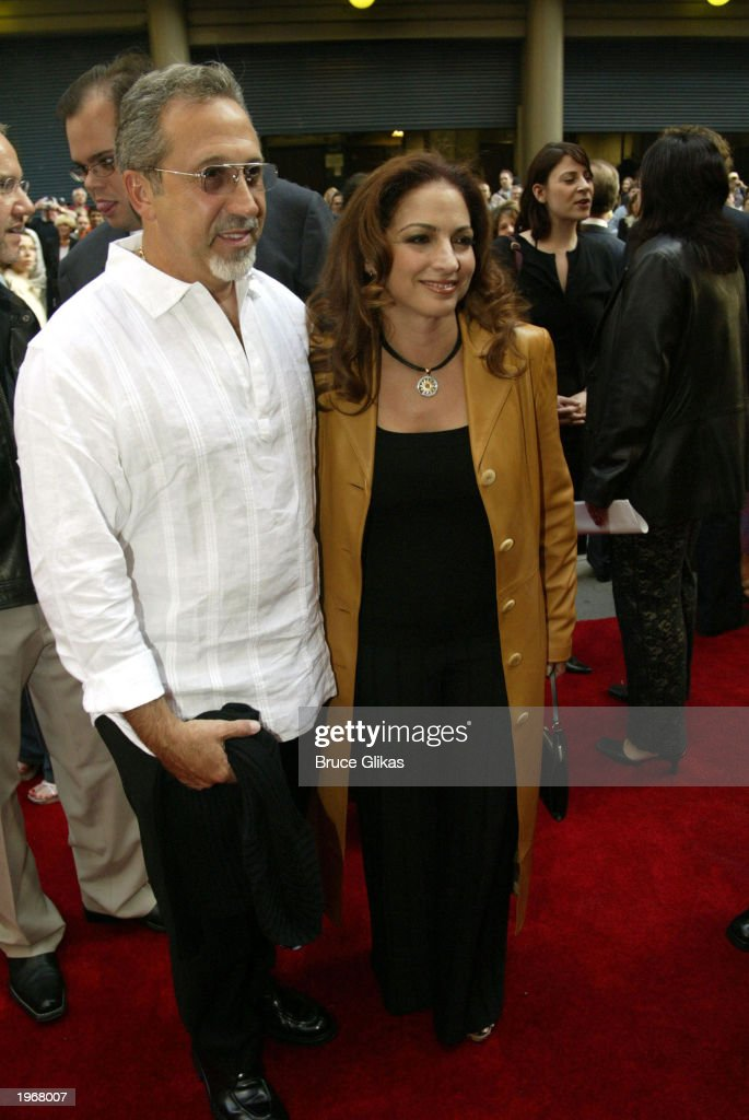 Emilio Estefan (L) and Gloria Estefan arrive at the opening night of 'Gypsy' on Broadway at The Shubert Theatre May 1, 2003 in New York City.