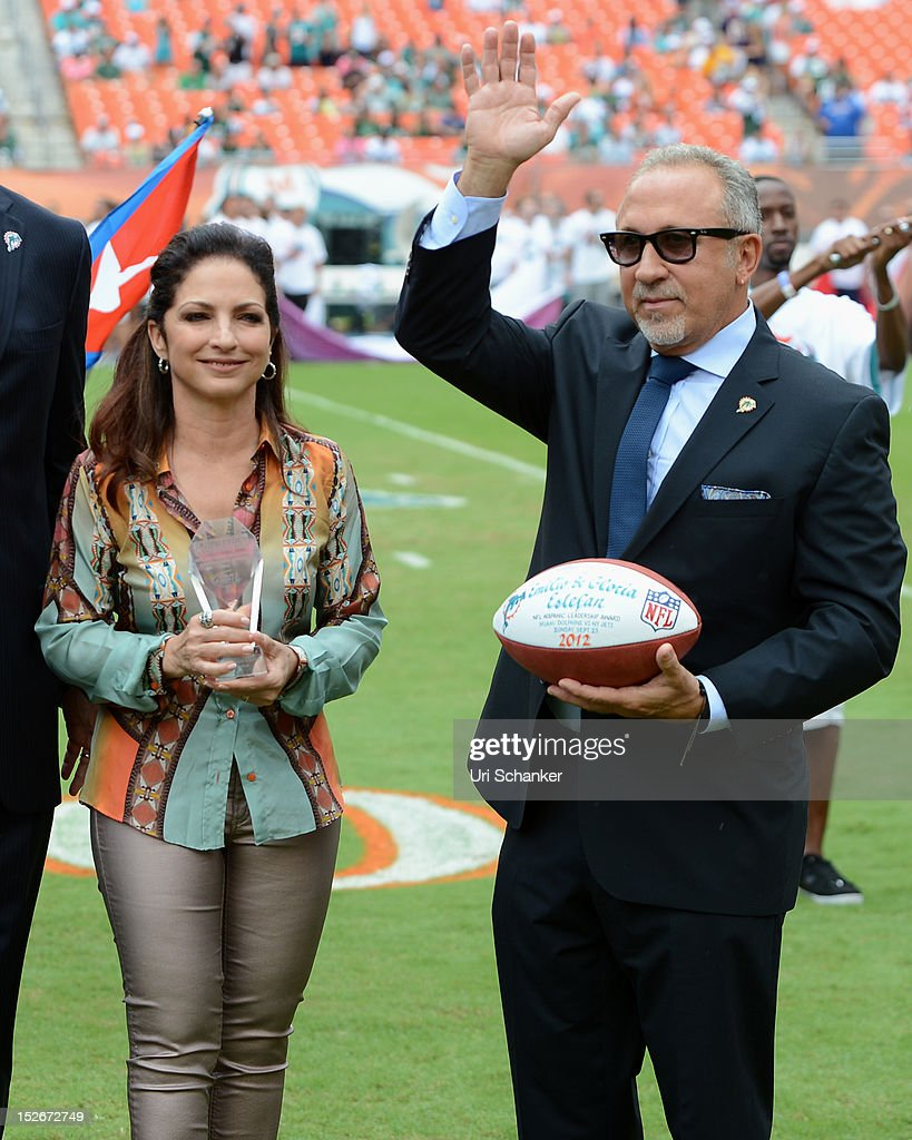 <a gi-track='captionPersonalityLinkClicked' href=/galleries/search?phrase=Emilio+Estefan&family=editorial&specificpeople=210517 ng-click='$event.stopPropagation()'>Emilio Estefan</a> and <a gi-track='captionPersonalityLinkClicked' href=/galleries/search?phrase=Gloria+Estefan&family=editorial&specificpeople=201703 ng-click='$event.stopPropagation()'>Gloria Estefan</a> attend Miami Dolphins VS NY jets game at Sunlife Stadium on September 23, 2012 in Miami, Florida.
