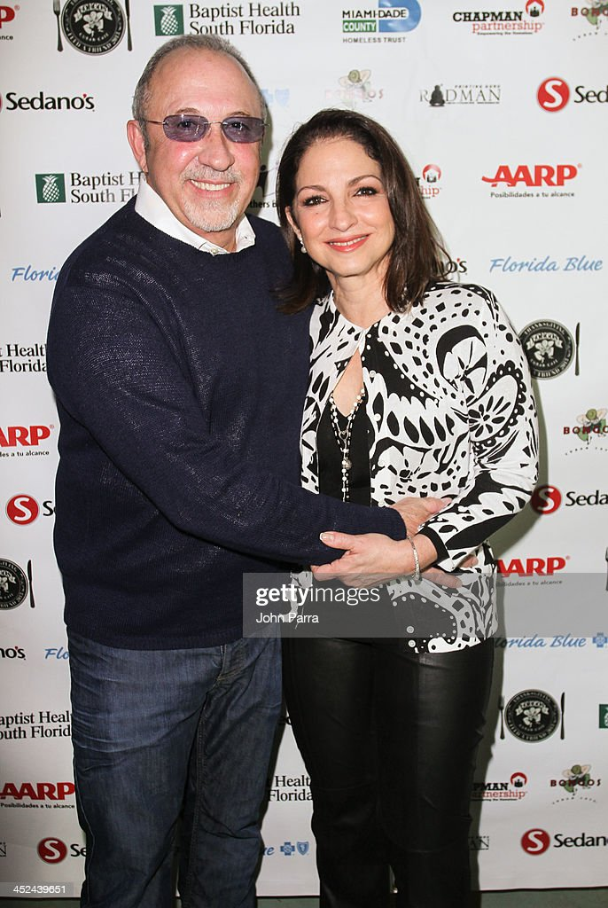 <a gi-track='captionPersonalityLinkClicked' href=/galleries/search?phrase=Emilio+Estefan&family=editorial&specificpeople=210517 ng-click='$event.stopPropagation()'>Emilio Estefan</a> and <a gi-track='captionPersonalityLinkClicked' href=/galleries/search?phrase=Gloria+Estefan&family=editorial&specificpeople=201703 ng-click='$event.stopPropagation()'>Gloria Estefan</a> attend the Gloria & <a gi-track='captionPersonalityLinkClicked' href=/galleries/search?phrase=Emilio+Estefan&family=editorial&specificpeople=210517 ng-click='$event.stopPropagation()'>Emilio Estefan</a> Host 6th Annual Thanksgiving Day 'Feed A Friend' Event at Bongos Cuban Cafe at Bongos on November 28, 2013 in Miami, Florida.