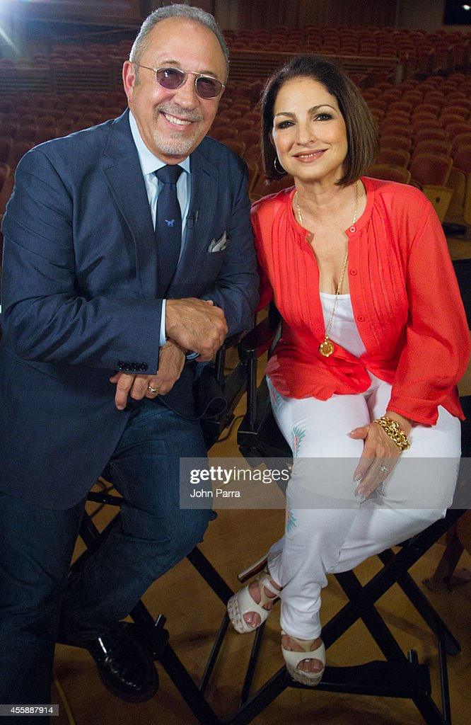 Emilio Estefan and Gloria Estefan backstage during the On Your Feet casting at Adrienne Arsht Center on September 21 2014 in Miami Florida