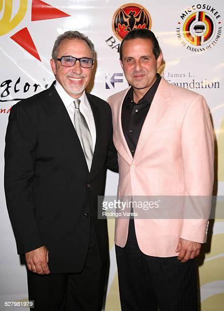 Emilio Estefan and Manny Diaz during Gloria Estefan Foundation Gala Arrivals at Estefan Residence in Miami Beach FL United States