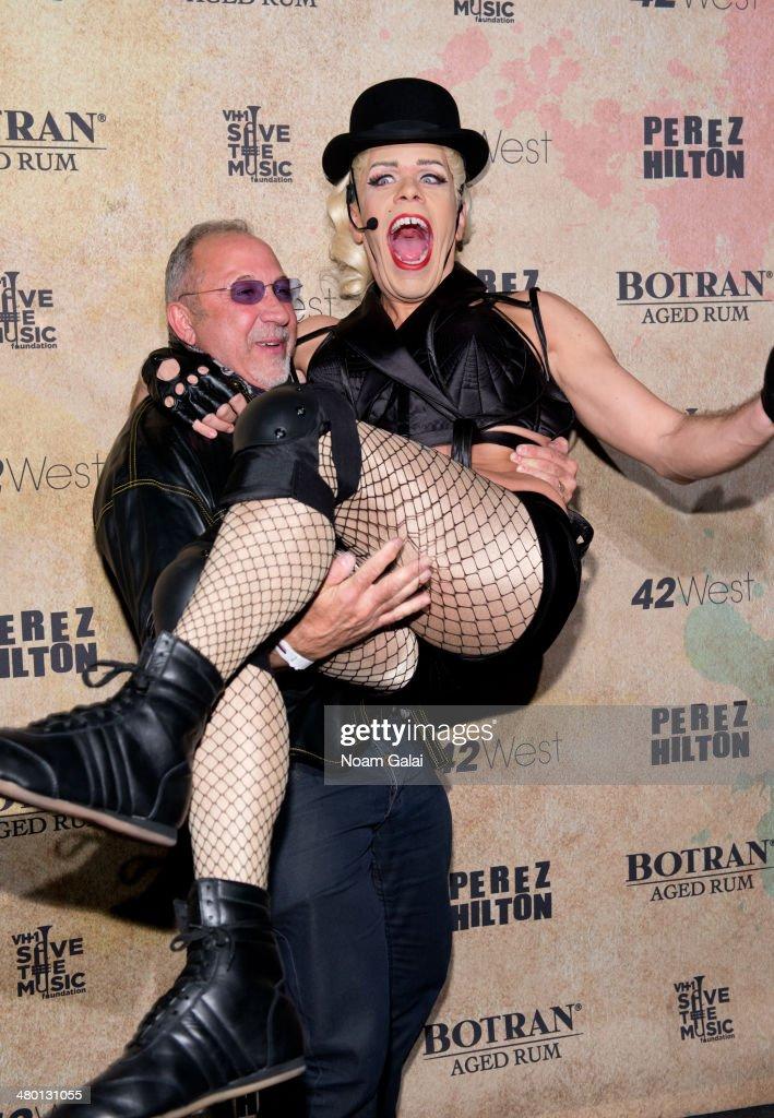 Emilio Estefan and Perez Hilton attend Perez Hilton's 36th Birthday 'Madonnathon' at 42West on March 22 2014 in New York City