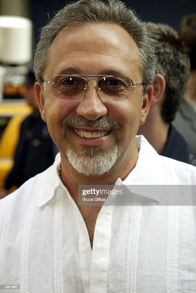 Emilio Estefan arrives at the opening night of 'Gypsy' on Broadway at The Shubert Theatre May 1, 2003 in New York City.