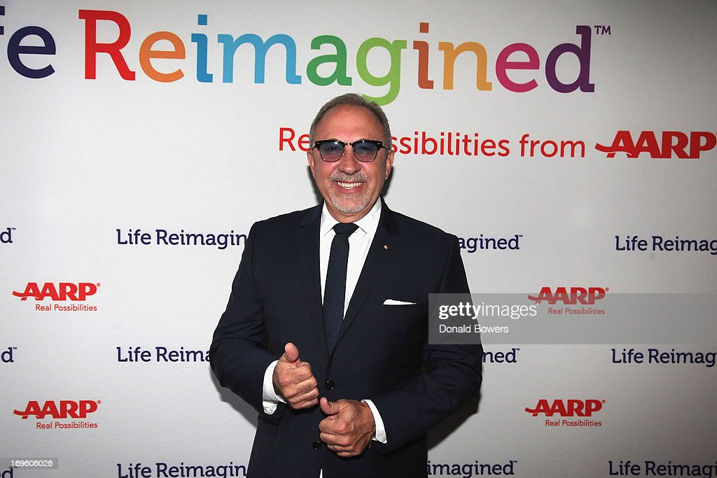 <a gi-track='captionPersonalityLinkClicked' href=/galleries/search?phrase=Emilio+Estefan&family=editorial&specificpeople=210517 ng-click='$event.stopPropagation()'>Emilio Estefan</a> attends The Launch of AARP's 'Life Reimagined' hosted by <a gi-track='captionPersonalityLinkClicked' href=/galleries/search?phrase=Emilio+Estefan&family=editorial&specificpeople=210517 ng-click='$event.stopPropagation()'>Emilio Estefan</a> and Dan Marino at La Bottega Trattoria at The Maritime Hotel on May 28, 2013 in New York City.