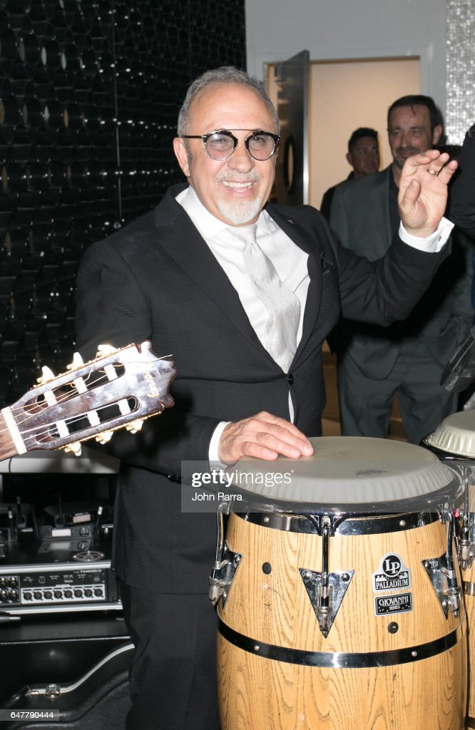Emilio Estefan celebrate his birthday during grand opening of the Estefan Kitchen restaurant at the Palm Court in the Design District on March 3, 2017 in Miami, Florida.