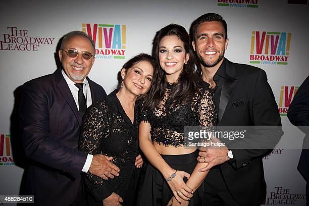 Emilio Estefan Gloria Estefan Ana Villafane and Josh Segarra attend 'Gloria Estefan And Miami Sound Machine A Benefit Concert for Viva Broadway' at...