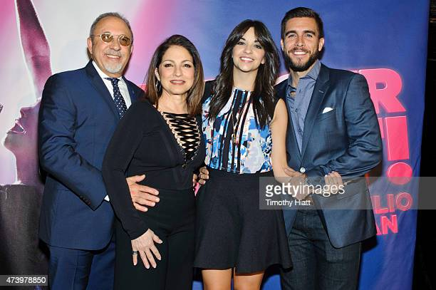 Emilio Estefan Gloria Estefan Josh Segarra and Ana Villafae attend the welcome press conference for 'On Your Feet' at the Oriental Theatre on May 19...