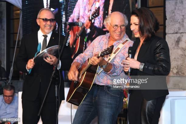 Emilio Estefan Jimmy Buffett and Gloria Estefan perform at Celebrating Miami Marine Stadium An Evening with Jimmy Buffett and Gloria Estefan at Coral...