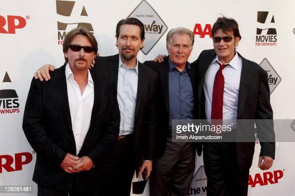 Emilio Estevez Ramon Estevez Martin Sheen and Charlie Sheen attend AARP's Movies For Grown Ups Film Festival screening of 'The Way' at Nokia Theatre...