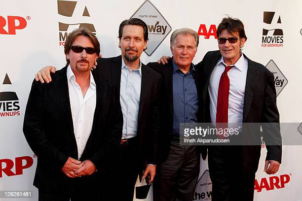Emilio Estevez Ramon Estevez Martin Sheen and Charlie Sheen attend AARP's Movies For Grown Ups Film Festival screening of 'The Way' at Nokia Theatre...
