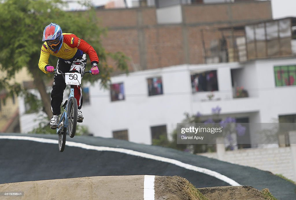 Emilio Falla of Ecuador competes in BMX time trial Men«s final as part of the XVII Bolivarian Games Trujillo 2013 at Parque Huiracocha on November 25, 2013 in Lima, Peru.