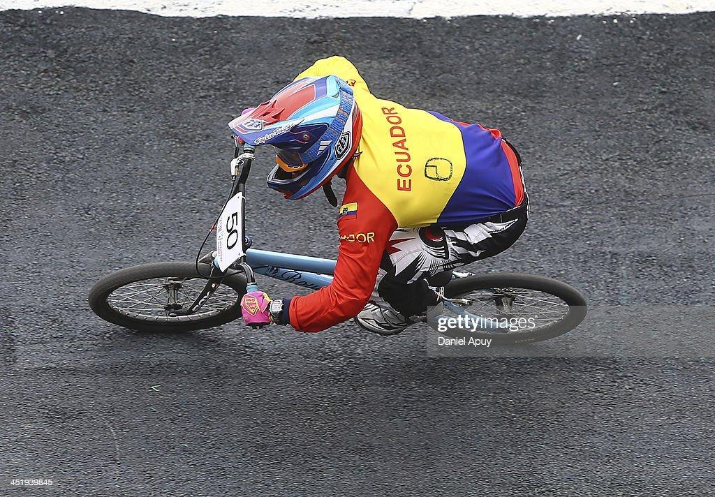 Emilio Falla of Ecuador competes in BMX time trial Men«s final as part of the XVII Bolivarian Games Trujillo 2013 at Parque Huiracocha on November 25, 2013 in Lima, Peru.
