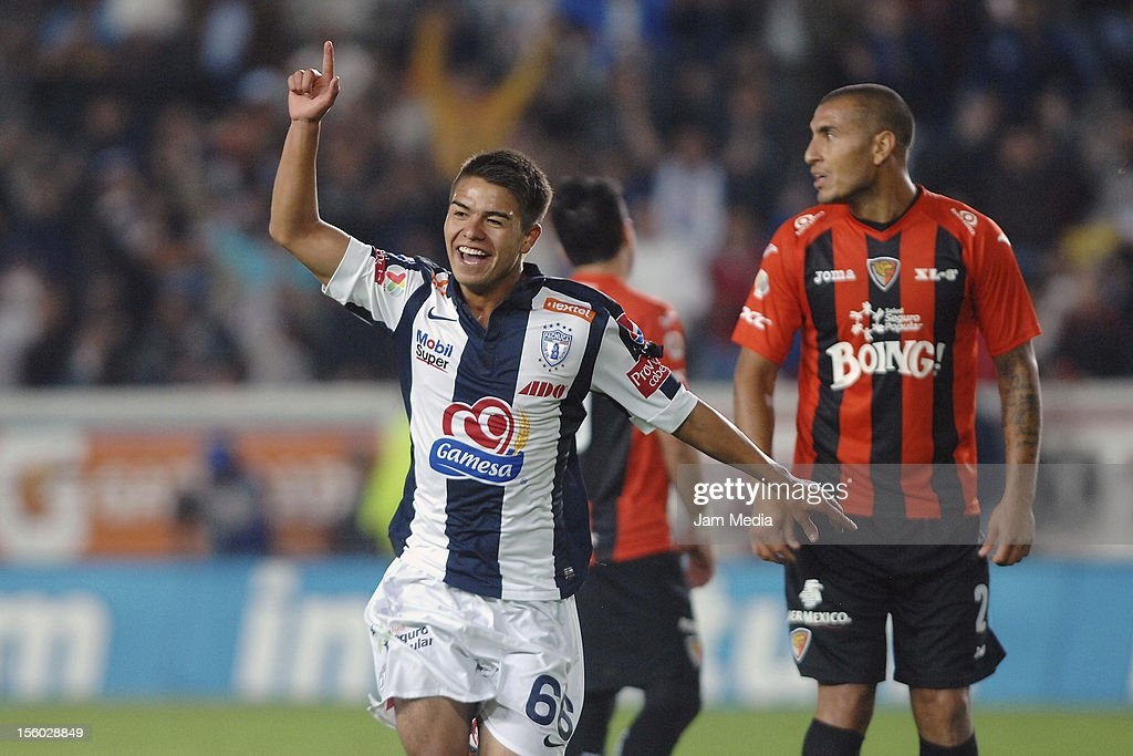 Emilio Garcia of Pachuca celebrates a scored goal against Jaguares during a match between Pachuca and Jaguares as part of the Apertura 2012 Liga MX...