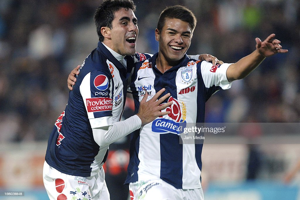 Emilio Garcia of Pachuca celebrates with his teammates a scored goal against Jaguares during a match between Pachuca and Jaguares as part of the...