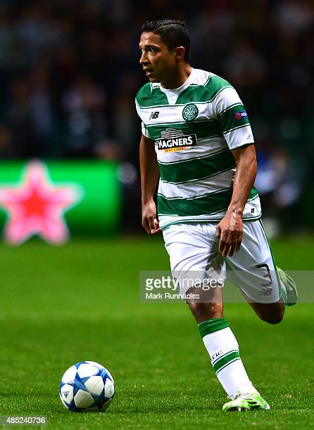 Emilio Izaguirre of Celtic in action during the UEFA Champions League Qualifying play off first leg match between Celtic FC and Malmo FF at Celtic...