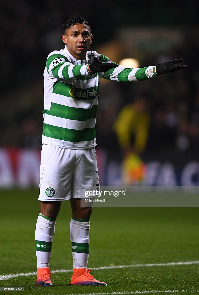 Emilio Izaguirre of Celtic reacts during the UEFA Champions League Group C match between Celtic FC and FC Barcelona at Celtic Park Stadium on November 23, 2016 in Glasgow, Scotland.
