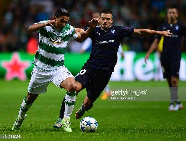 Emilio Izaguirre of Celtic takes on Vladimir Rodic of Malmo during the UEFA Champions League Qualifying play off first leg match between Celtic FC...