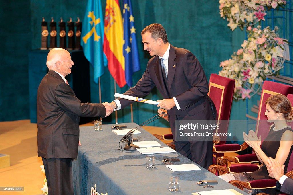 Emilio Lledo, King Felipe VI of Spain and Queen Letizia of Spain attend the Princess of Asturias (Princesa de Asturias) award 2015 at the Campoamor Theater on October 23, 2015 in Oviedo, Spain.